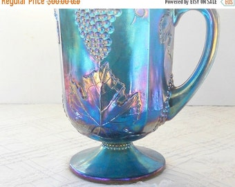 On Sale Vintage Harvest Grape Blue Carnival Glass Pitcher, Indiana Glass, Lemonade, Ice Tea, Tea Party, Weddings, Ca. 1970