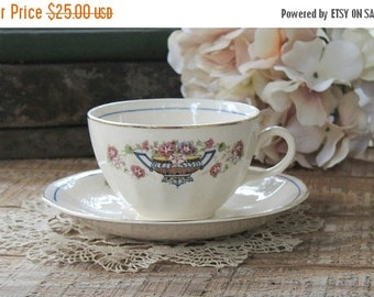On Sale Vintage Cottage Style Flower Basket Tea Cup Set, Shabby Chic, Tea Party, French Farmhouse, Weddings, Bridal Luncheon Gift