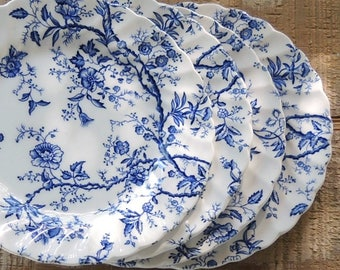 Johnson Brothers Old Bradbury Bread and Butter Plates Set of 4 Blue and White Chintz Farmhouse Dishes, Wedding Plates