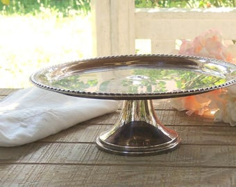 Silver Cake Stand Vintage  Silver Cake Plate Pedestal Wedding Decor Table Settings French Country