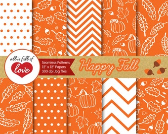 Orange Digital Paper Fall Backgrounds Tillable Patterns Autumn Scrapbooking Thanksgiving Paper Commercial Use Foliage graphics