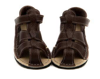 Dark brownToddler Leather Sandals, Vibram sole, support barefoot walking, sizes EU 16 to 24 - US 2 to 7.5