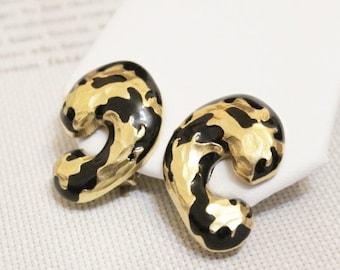 Xmas SALE Vintage Black and Gold Earrings, Big Bold Earrings
