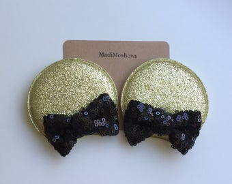 Minnie Mouse Clips in gold and black perfect for pigtails to look like EARs
