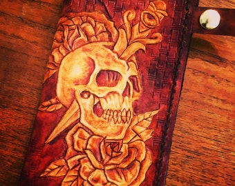Hand tooled leather biker wallet.