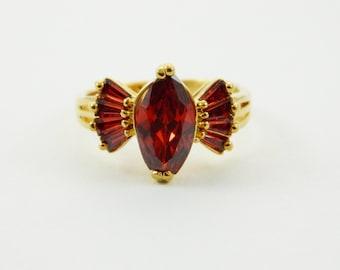 Gold Garnet Cocktail Ring