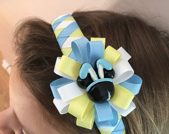 Easter Mickey or Minnie Bunny and Minnie Chevron Easter Egg Ribbon Wrapped Headband