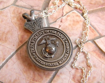US Marine Silver Necklace, Western Womens Mens MilitaryJewelry, US Marine Girlfriend, Wife, Mom, USMC Wedding Gift, Bridesmaid Groomsmen