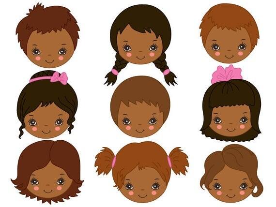 African American Kinder Gesichter Clipart digitale Vektor