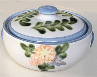 Vintage Stoneware Covered Bowl, Louisville Kentucky USA pottery, ovenware housewares, hand painted floral serving bowl