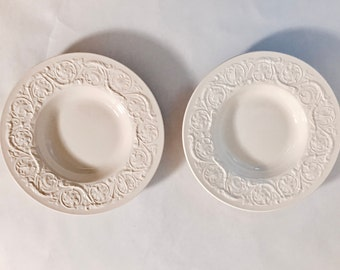 Two Cream Wedgewood Soup Bowls with Raised Scroll Work Patrician Wedgewood Bowls with Scroll work around rim
