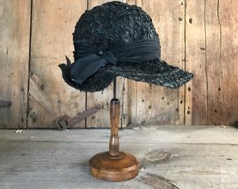 1940s French Ladies Hat, Black Straw Raffia Hat, Silk Ribbon Bow