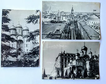 Vintage Russian Postcards x 3, Black and White, 1960, Moscow Churches, Moscow Street Scene