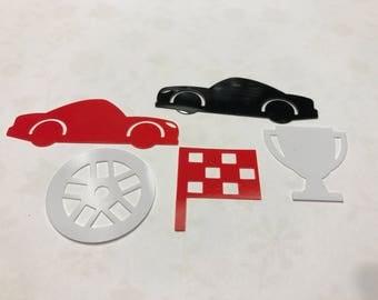 15 piece large assoted Race Car plastic confetti mix,30-50 mm (2)+