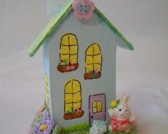 Easter Decorations, Putz, Mixed media altered art, wooden house, Miniature, bunnies, glitter, vintage images, vintage Easter ornaments