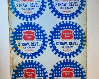 Vintage uncut metal sheet of Meadow Gold Strawberry Ice Cream Lids