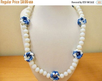 On Sale Vintage Blue and White Glass Beaded Necklace Item K #3258