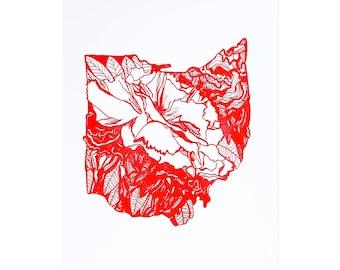 Letterpress Ohio Scarlet Carnation