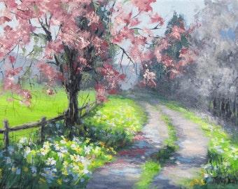Spring Walk 2 - Original Spring blossoming tree painting