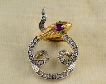 A French marks rare Victorian ruby and diamond scarf clip