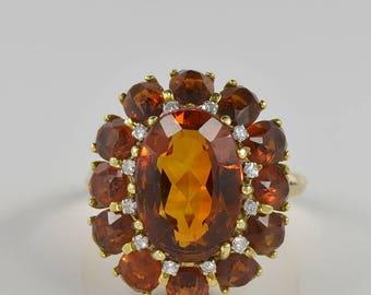 Fabulous retro Madeira citrine and diamond large flower ring