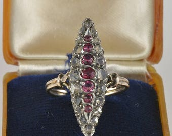 Reduced! Exquisite Victorian ruby and diamond rare marquise ring