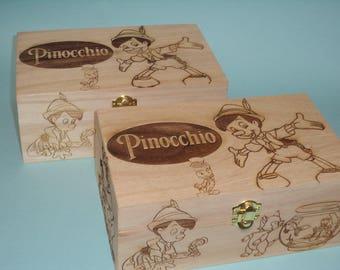 Pinocchio Etched wood Trinket Box