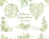 Hand drawn digital branch Clipart | Forest Leaves Clipart - Greenery Leaf Branches and Stems - Wedding Invitation Clip Art PNG