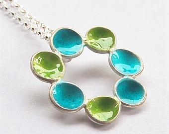 Enameled Pendant Sterling Silver FREE SHIPPING turquoise/green pendant