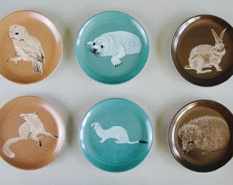 Mid Century Melamine Coasters by Praesidium Ornamin - animals, fox, seal, hedgehog, owl, hare, barware