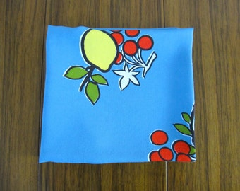 Vintage Tablecloth mid century 1960s , linen, fruit print, linens, lemons, cherry
