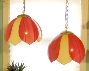 1970s Tulip Swag Lamps/Retro Lighting/Home Decor *Price Includes Domestic Shipping