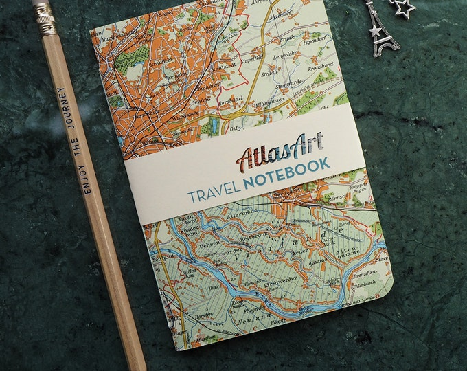 NOTEBOOK, TRAVEL JOURNAL, Germany, Hamburg, 4x5,8inch, 32 p., blank, diary, notebook, atlas, map, vintage, upcycling