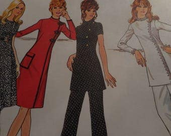 Vintage 1970's McCall's 2977 Dress or Tunic and Pants Sewing Pattern, Size 12 Bust 34