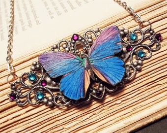 Blue and Silver Victorian Butterfly Necklace
