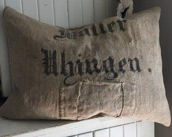Antique German Grainsack Pillow ~Patch