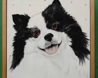 "Dog Portrait Tile-8"" set into keepsake box lid"