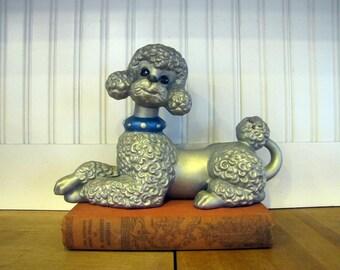 1960's Ceramic Poodle Figurine, Poodle, Ceramic, Pottery, Art Pottery, Homemade, 1960's, 1970's, Statue, Silver Glaze