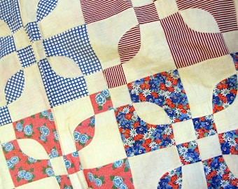 1940's Feed Sack Flower Pattern Quilt Top, Feed Sack, Grain Sack, Flour Sack, 1940's, Quilt Top, Blue, Pink, Quilt, Patchwork, Heirloom