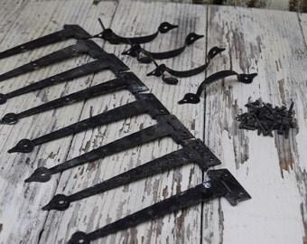 Vintage Hammered Black Metal Hinges and cabinet pulls. Vintage hardware