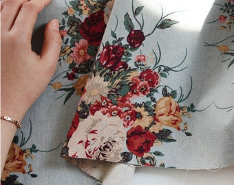 """Roses Cotton Linen Fabric - Mint Blue - 57"""" Wide - By the Yard 97052"""