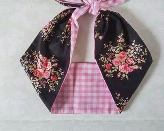 pink rose gingham vintage 50s style rockabilly  bandana,  rockabilly pin up psychobilly  hairband headband