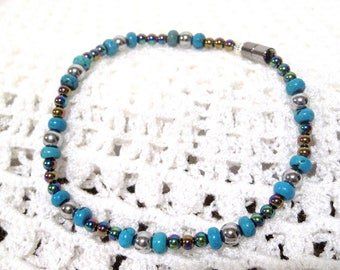 Magnetic Anklet, Turquoise, Iridescent & Silver, Super strong Magnets, Size 10, Healthy Living, Pain management