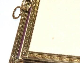 Antique Brass 8x10 Frames, Set of 2, Art Nouveau Velvet Backed