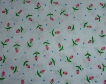 """One Yard and 27"""" of Quilt Cotton Fabric with Rosebuds on White"""
