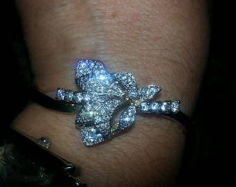 Two Tone delicate flower bracelet gold filled sterling