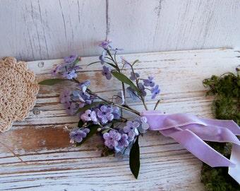 Lavender Velvet Vintage Millinery Flowers, Old Hat Flowers, Millinery, Antique Millinery Flowers, Millinery Blooms, Velvet Hat Flowers