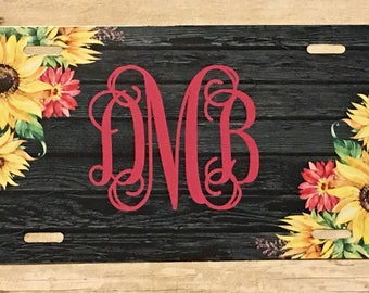 Personalized Floral Sunflower and Rustic Wood Design License Plate Monogrammed License Plate