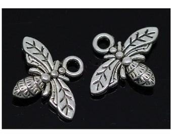 10 Small Bee Charms Realistic Silver Tone 16x13mm