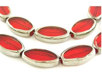 12pc 18x10mm silver plated oval flat  glass beads-OFF8
